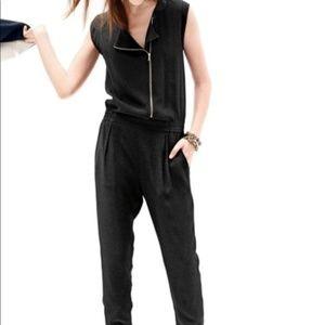 J. Crew asymmetrical zip jumpsuit black size 8